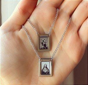 Colar Escapulário Com Imagem (Jesus e São Cristóvão) em Plaquinhas Duplas Aço Inox