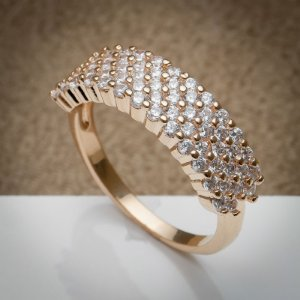 Anel Luxury Fileira de Micro Zircônias Diamond Ouro Rosé
