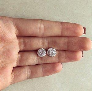 Brinco Flor de Zircônias Diamond Prata 950