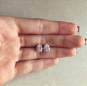 Brinco Gota Zircônia Diamond Prata 950