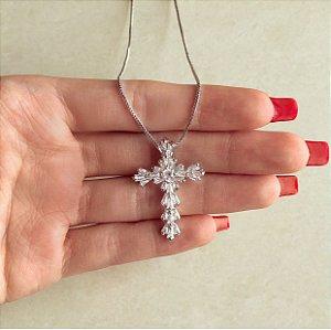 Corrente Cruz Cravação Navetes de Zircônias Diamond Ródio Branco