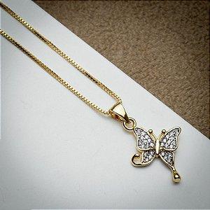 Corrente Borboleta Cravação Micro Zircônias Diamond Dourado