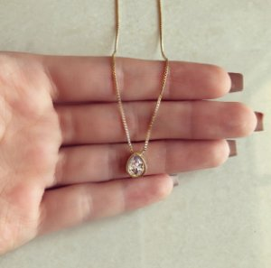 Corrente Gota de Zircônia Diamond Dourado