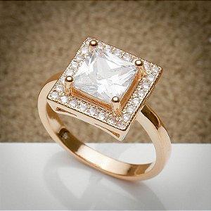 Anel Quadradinho Cravação de Zircônias Diamond Ouro Rosé