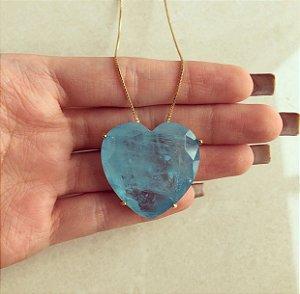 Corrente Maxi Coração Luxo Pedra Fusion Azul Turquesa Dourado