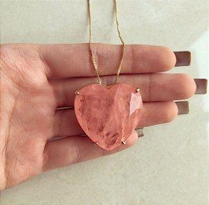 Corrente Maxi Coração Luxo Pedra Fusion Pêssego Dourado