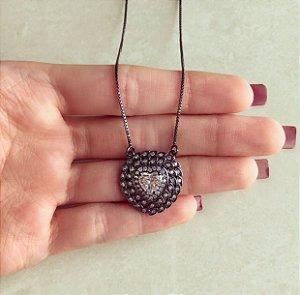 Corrente Maxi Coração Zircônias Diamond Ródio Negro