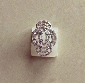 Anel Luxury Cravação Mil Micro Zircônias Diamond Ródio Branco