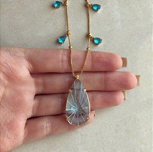 Corrente Gota Pedra Raiada Azul Turquesa com Gotas de Cristal Azul Topázio Dourado