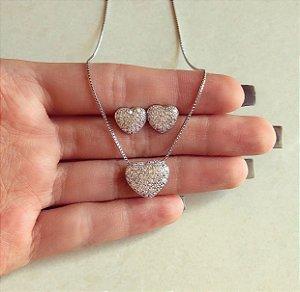 Conjunto Coração Micro Zircônias Diamond Ródio Branco