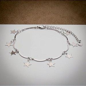 Pulseira Aro com Pingente de Estrelas Ródio Branco