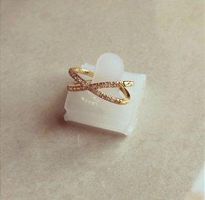 Anel Cruzado Cravação Micro Zircônias Diamond Dourado