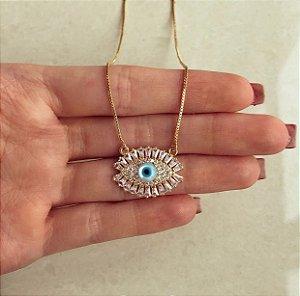 Corrente Mandala Micro e Navetes de Zircônias Diamond e Olho Grego Na Madre Pérola Dourado