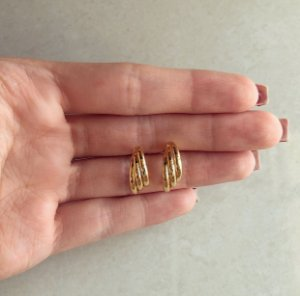 Brinco Argolinha Tripla Dourado