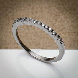 Anel Chicago Micro Cravação Zircônias Diamond Ródio Negro