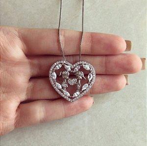 Corrente Mandala Coração Casal (Menino e Menina) Cravação Zircônias Diamond Ródio Branco
