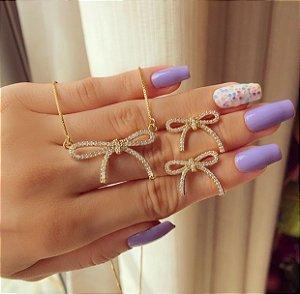 Conjunto Laço Micro Cravação de Mil Zircônias Diamond Dourado