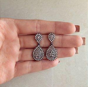 Brinco Gota Lisboa Cravação Micro Zircônias Diamond Ródio Negro