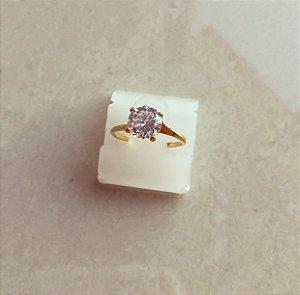 Anel Solitário Maxi Zircônia Diamond Dourado