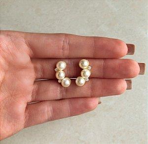 Brinco Ear Cuff Pérolas com Pingos de Zircônia Diamond Dourado
