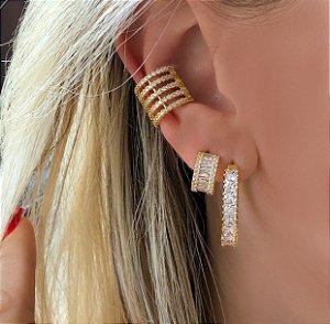 Maxi Piercing de Pressão Mil Zircônias Diamond Dourado