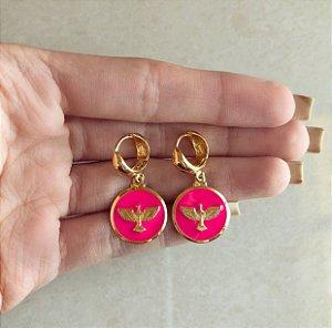 Argolinha Espírito Santo Esmaltada Pink Dourado