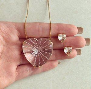 Conjunto Maxi Coração Pedra Raiada Diamond Dourado