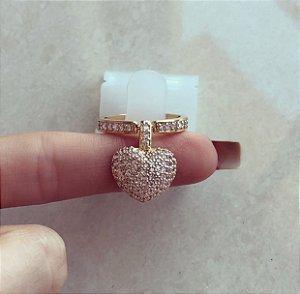 Anel Luxo Coração Micro Cravação de Mil Zircônias Diamond Dourado