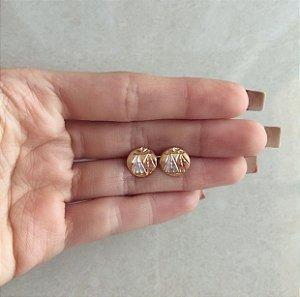 Brinco Redondo Pirâmides Trabalhado no Ouro Rosé, Ródio Branco e Ouro 18k
