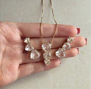 Conjunto Corações Zircônias Diamond Dourado