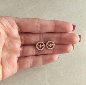 Brinco Espírito Santo Cravado de Zircônias Diamond Dourado