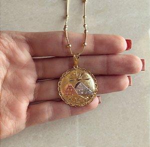 Corrente Bolinhas Com Pingente de Pirâmides Trabalhado No Ouro Rosé, Ródio Branco e Ouro 18k