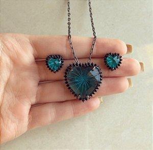 Conjunto Elos Coração Pedra Raiada Azul Petróleo e Cravação de Macassitas Ródio Negro