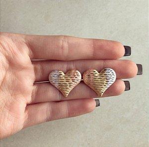 Brinco Maxi Coração Trabalhado no Ouro Rosé, Ródio Branco e Ouro 18k