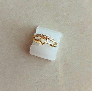 Anel Duplo Coração Cravação de Zircônias Diamond Dourado