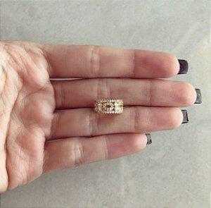 Piercing de Pressão Atenas Cravação Zircônias Diamond Dourado