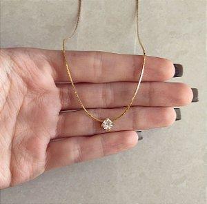 Corrente Fio Ponto de Luz de Zircônia Diamond Dourado