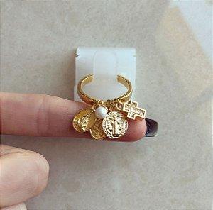 Anel Pingentes Nossa Senhora, Nossa Senhora das Graças, São Bento, Cruz Diamond e Pérola Dourado