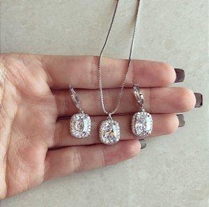 Conjunto Quadradinho Mil Zircônias Diamond Ródio Branco