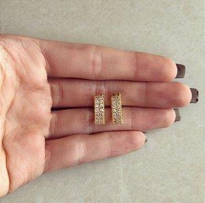 Argola Média Dupla Cravação Zircônias Diamond Dourado
