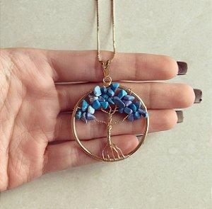 Colar Mandala Árvore da Vida com Pedras Naturais Agata Azul Dourado