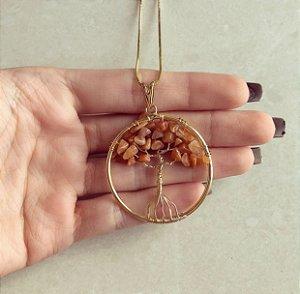Colar Mandala Árvore da Vida com Pedras Naturais Morganita Dourado