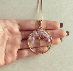 Colar Mandala Árvore da Vida com Pedras Naturais Rosé Dourado