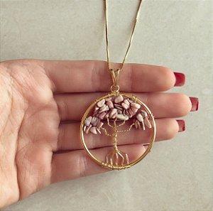 Colar Mandala Árvore da Vida Com Pedras Naturais Quartzo Rosa Fosco Dourado