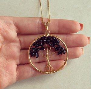 Colar Mandala Árvore da Vida Com Pedras Naturais Ônix Dourado