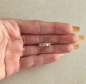 Piercing de Pressão Duplo Cravação Zircônias e Navetes Diamond Dourado