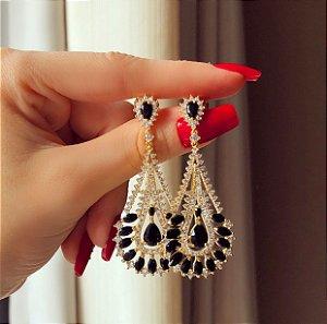 Brinco Luxo Turquia Cravação Zircônias Negra e Diamond Dourado