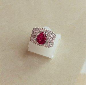 Anel Luxuoso Cravação Mil Zircônias Diamond e Gota de Pedra Fusion Rubelita Ródio Branco