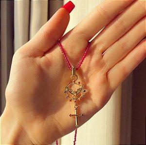 Corrente de Pedras Safira Rosa Pink e Espírito Santo com Zircônias Colorida Dourado