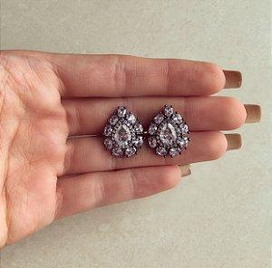 Brinco Maxi Gota Luxury Cravação Pedra Fusion Branca e Zircônias Diamond Ródio Negro